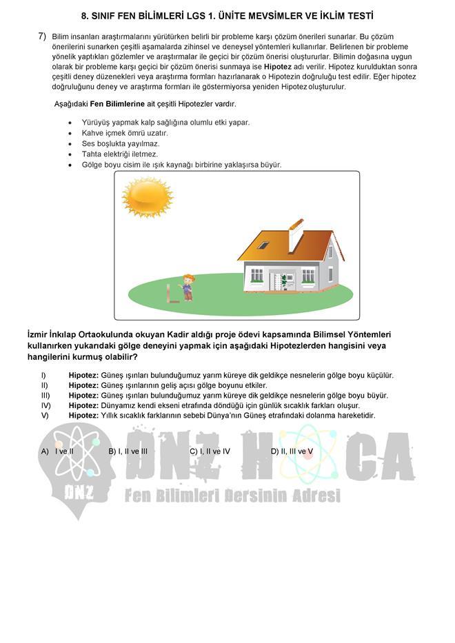 MEVSİMLERİN OLUŞUMU testi dnzhoca.com 11 660 933