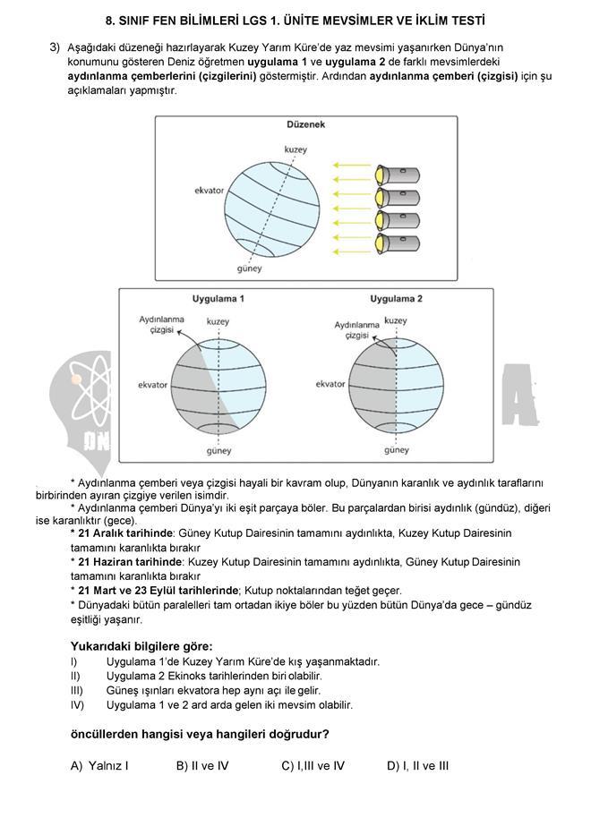 MEVSİMLERİN OLUŞUMU testi dnzhoca.com 3 660 933
