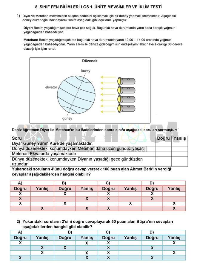 MEVSİMLERİN OLUŞUMU testi dnzhoca.com 4 660 933