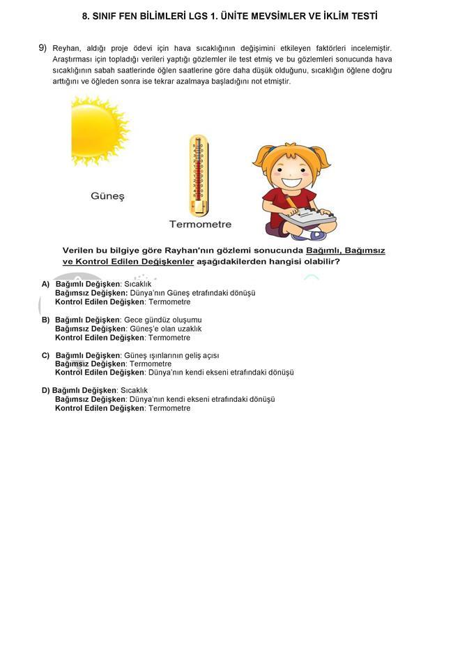 MEVSİMLERİN OLUŞUMU testi dnzhoca.com 9 660 933